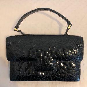 Vintage Black Mini Crocodile Handbag